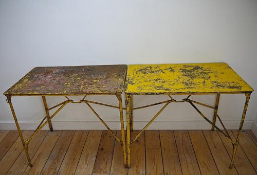 Pair of early 20th century French iron tables