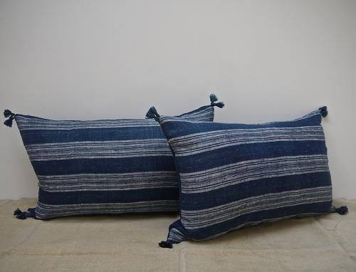 Pair of 19th century French indigo striped linen cushions