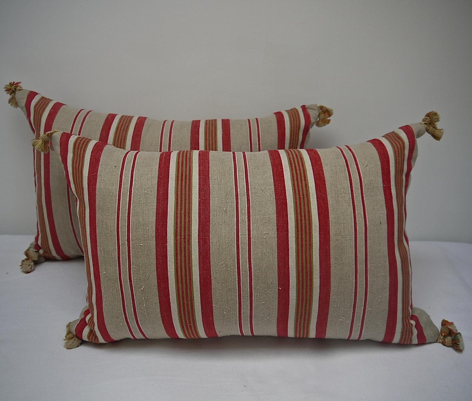 Pair of early 20th century French striped linen ticking cushions