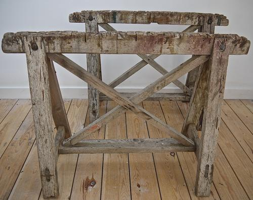 Pair of early 20thc French rustic trestle table bases