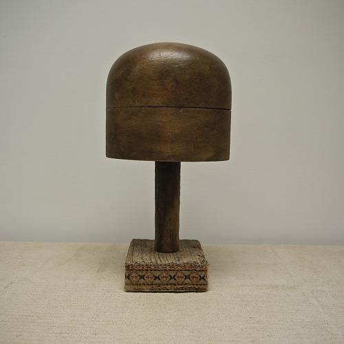 19th century French hat block on stand