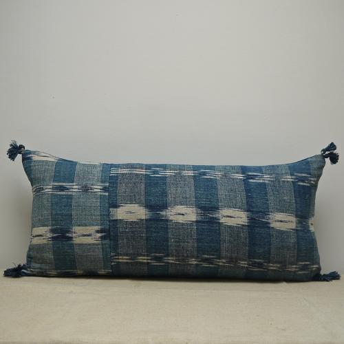Early 19th century French faded indigo flamme cushion