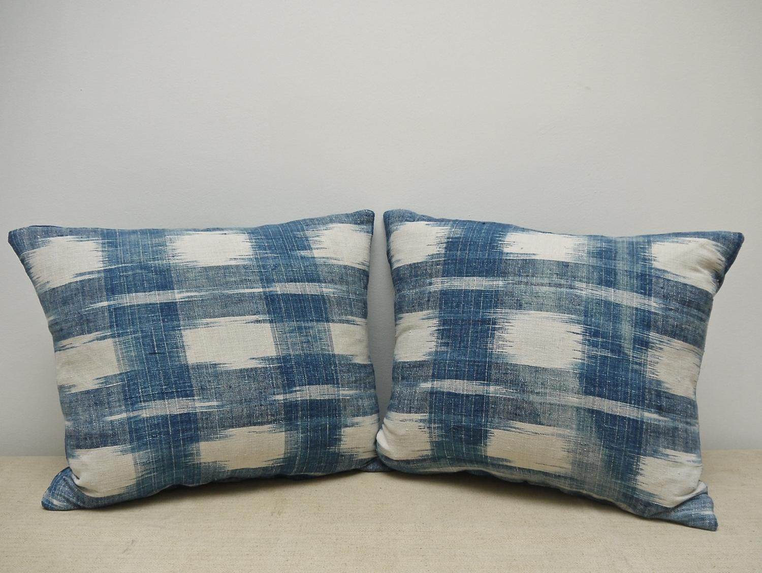 Pair of 18th century French indigo flamme cushions