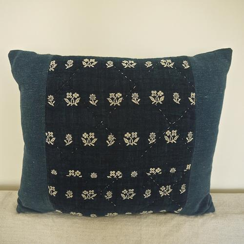 Late 18th century French wool woven on indigo linen cushion