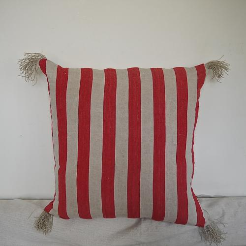 19th century French red striped linen cushion