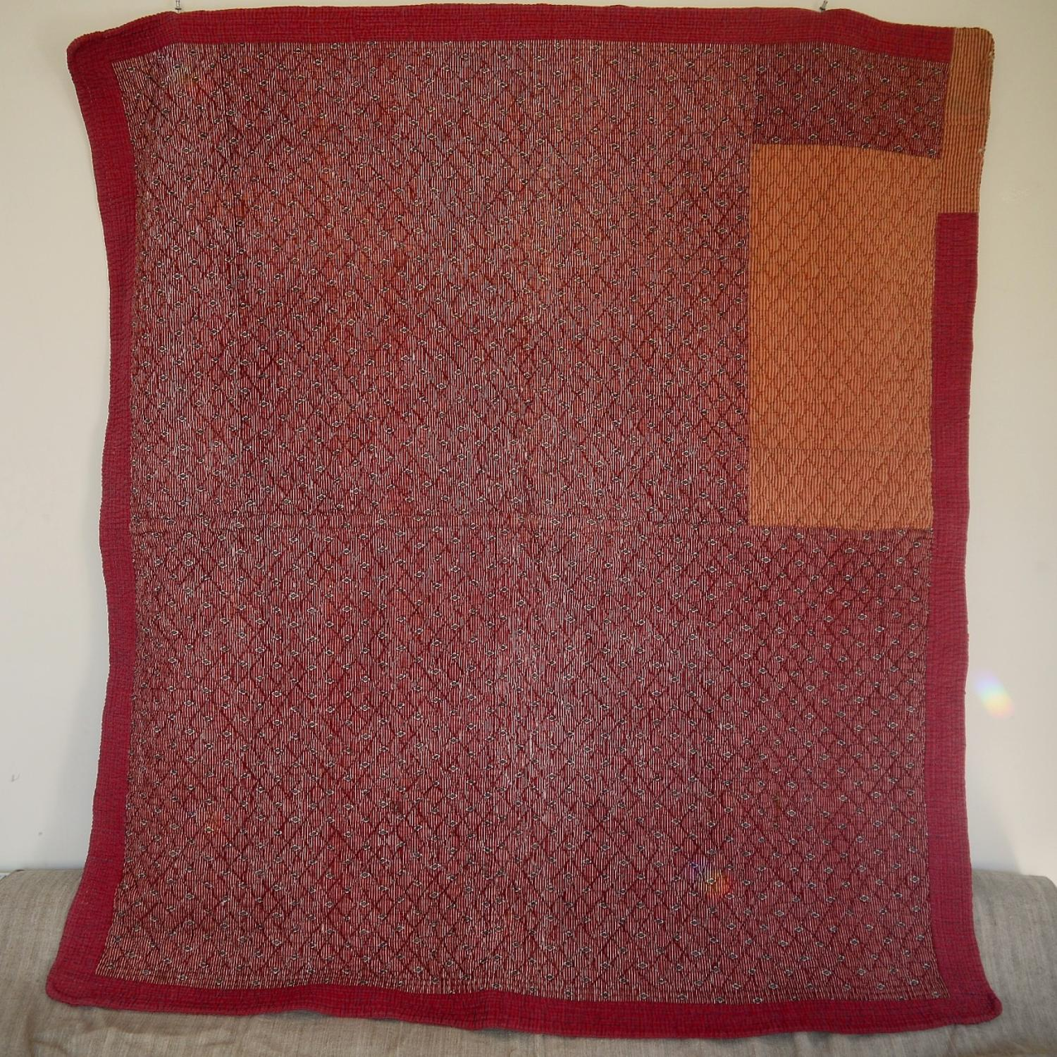 Late 18th century French red printed cotton quilt