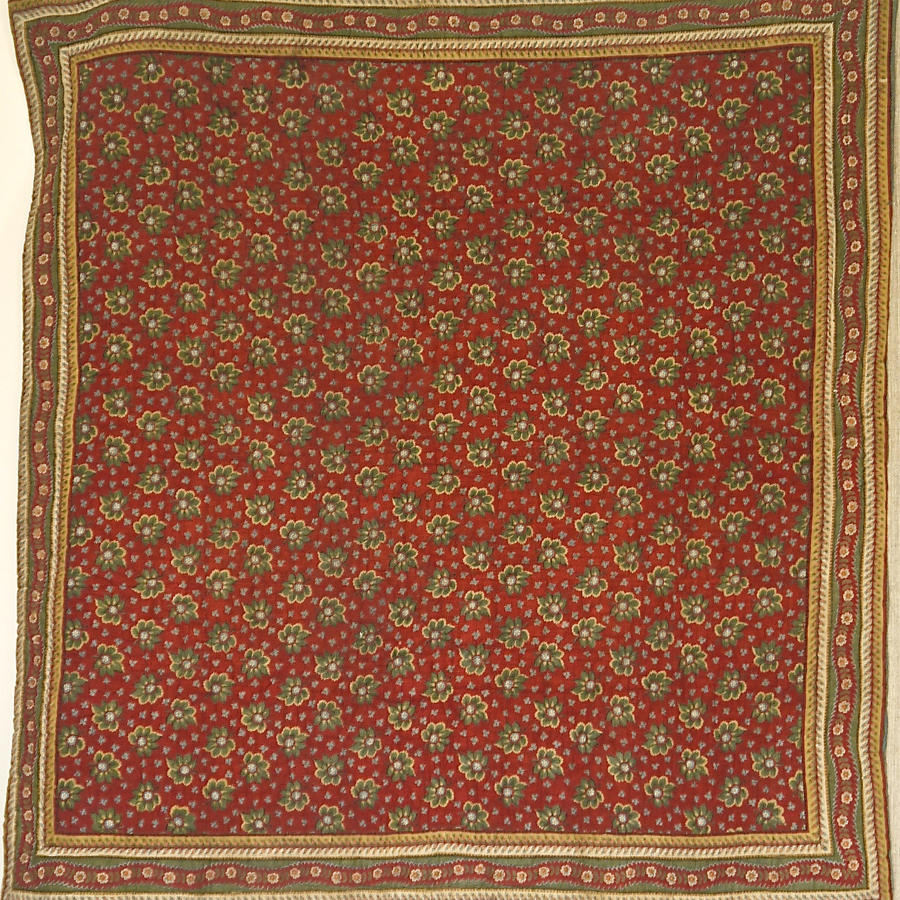 Small Green and Red Cotton Quilt French 19th Century
