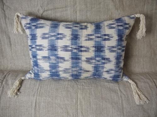 Late 18thc french indigo flamme cushion