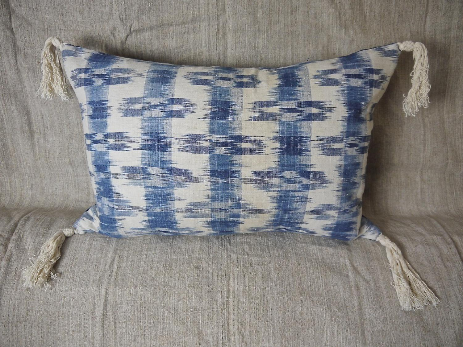Late 18thc french indigo flamme cushion