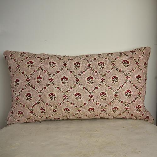 18th century French blockprinted flower cotton cushion