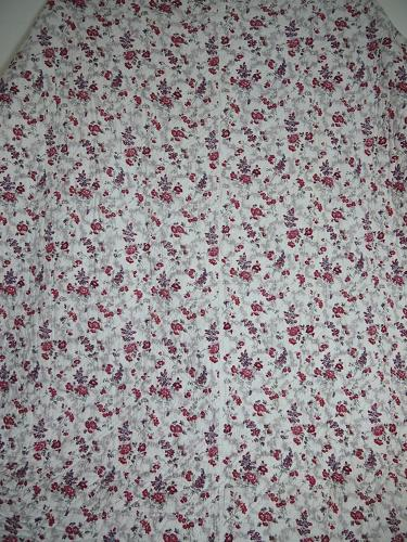 19th century French red and pink roses cotton quilt