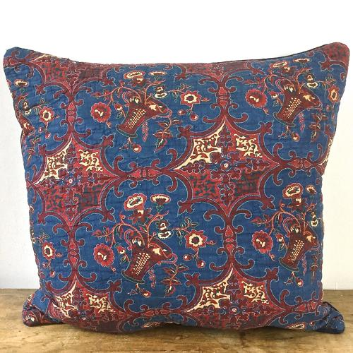 19th century French block printed cushion