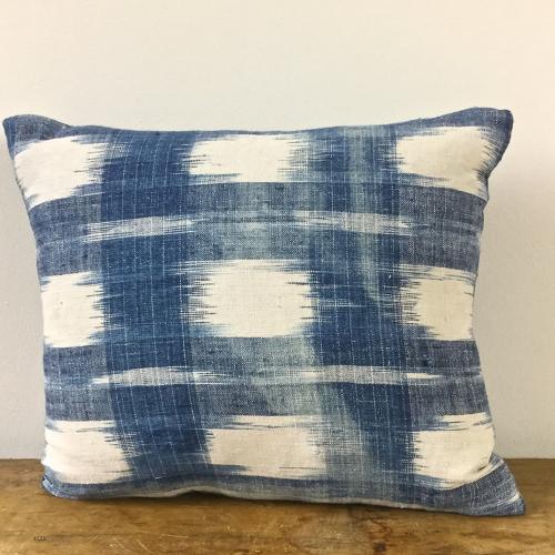 Late 18th century French indigo flamme cushion