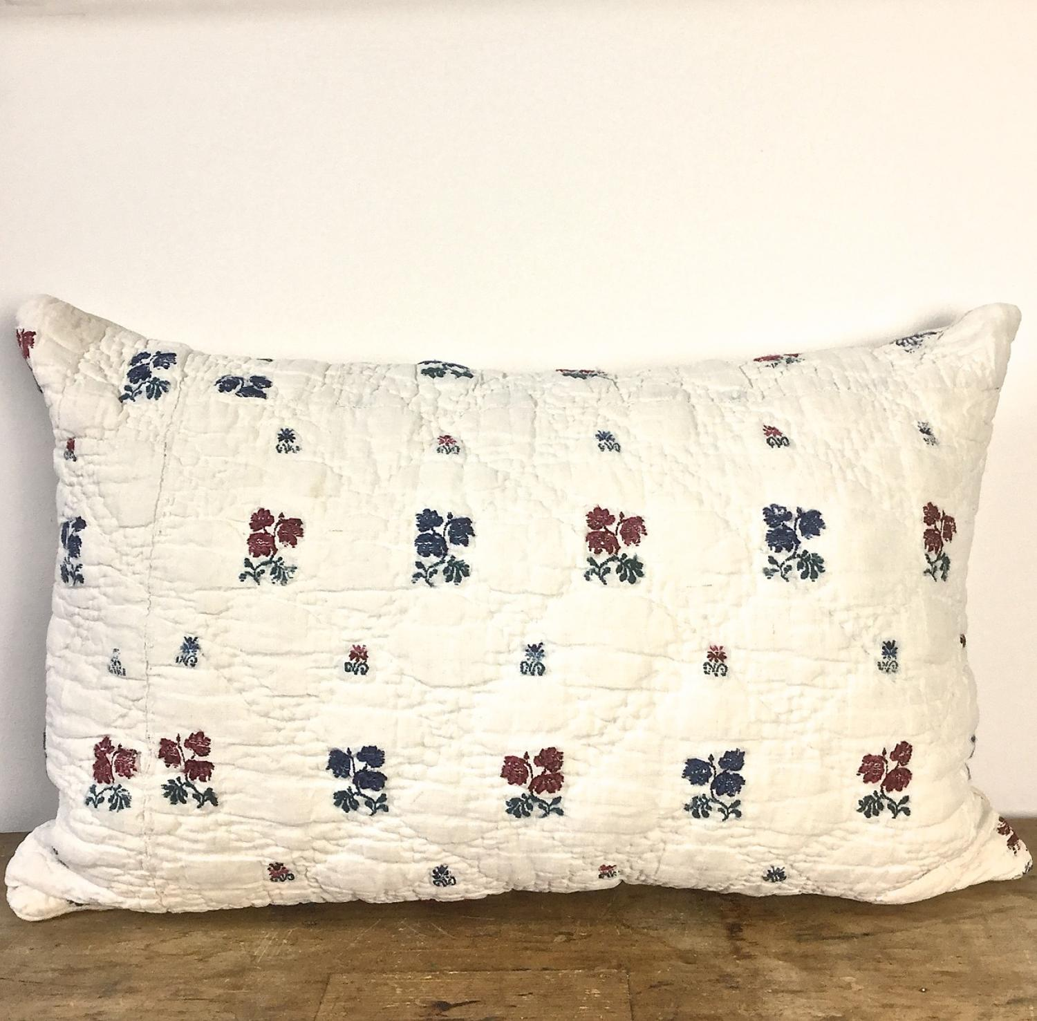 Late 18th century French wool woven on linen cushion