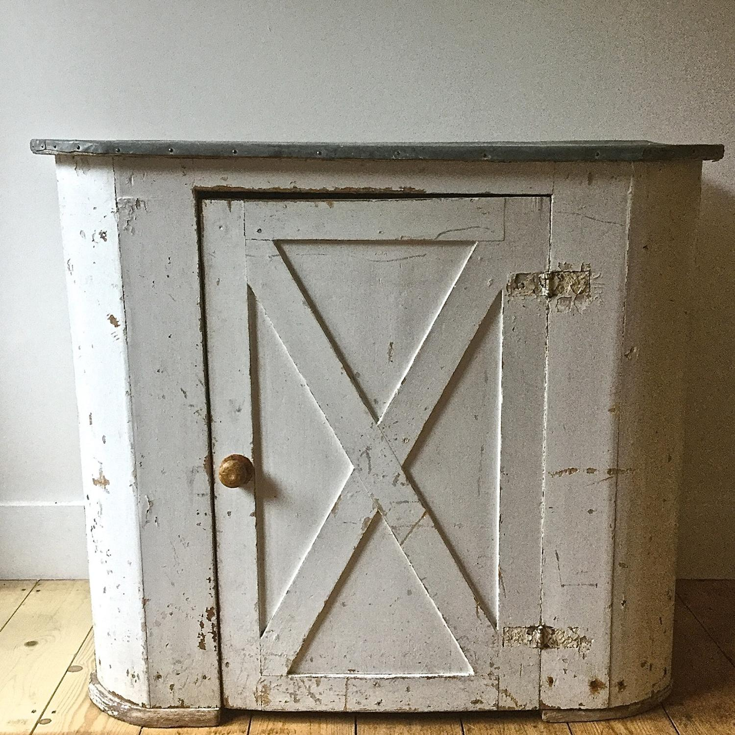 19th century Swedish zinc top painted cupboard