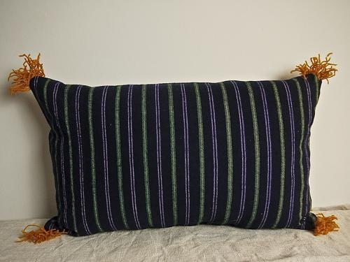 19th century French indigo green purple striped cushion
