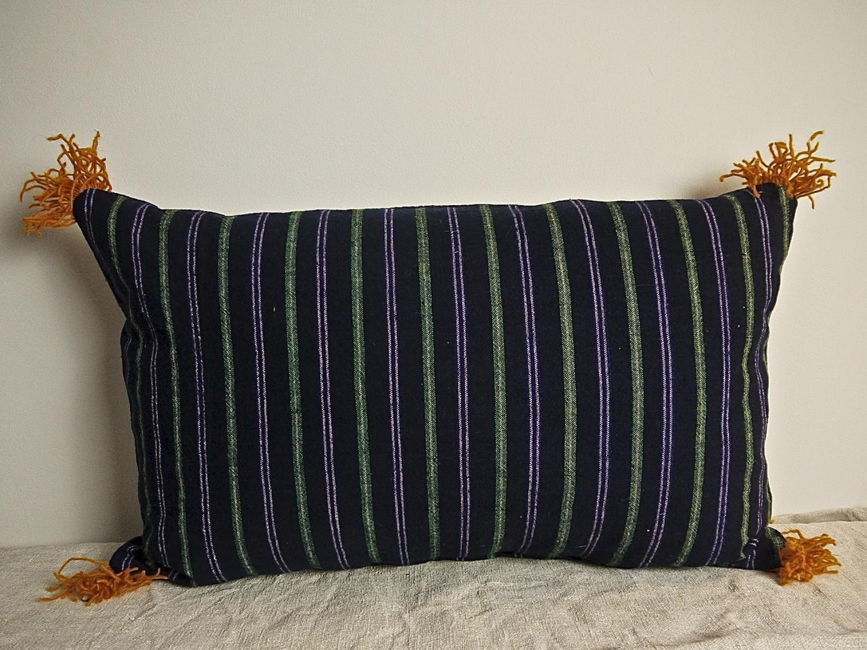 19th century French indigo green purple striped cushion