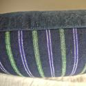 19th century French indigo green purple striped cushion - picture 5