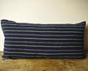 19th century French indigo green purple striped cushion - picture 1