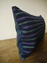 19th century French indigo green purple striped cushion - picture 3