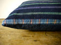 19th century French indigo green purple striped cushion - picture 4