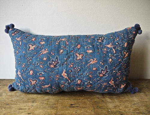 Early 19th century French blockprinted indigo cushion