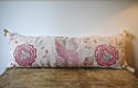 19th century French linen long block printed cushion - picture 1