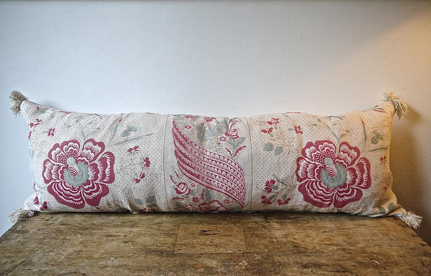 19th century French linen long block printed cushion