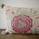 19th century French linen long block printed cushion - picture 5