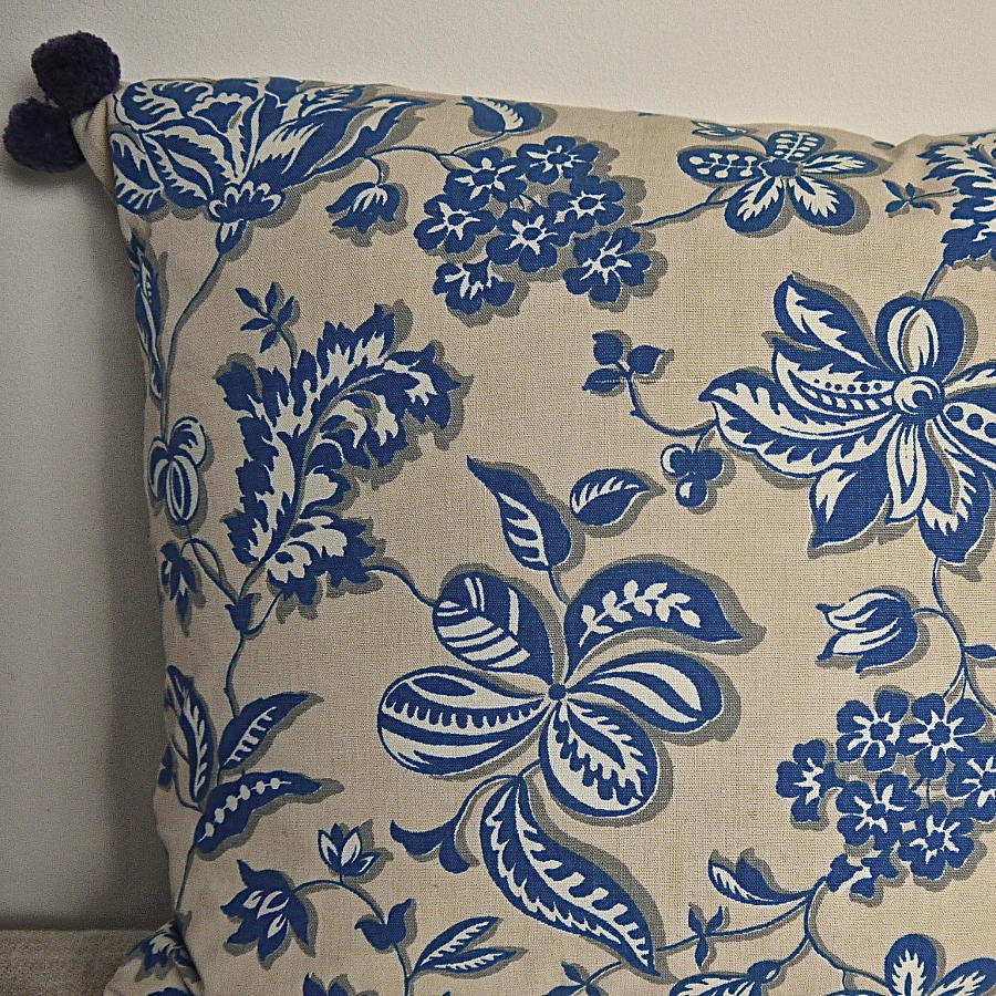 1930s French blue and white cotton cushion