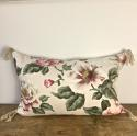 1950-60s English large scale magnolias tassel cushion - picture 3