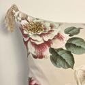 1950-60s English large scale magnolias tassel cushion - picture 4