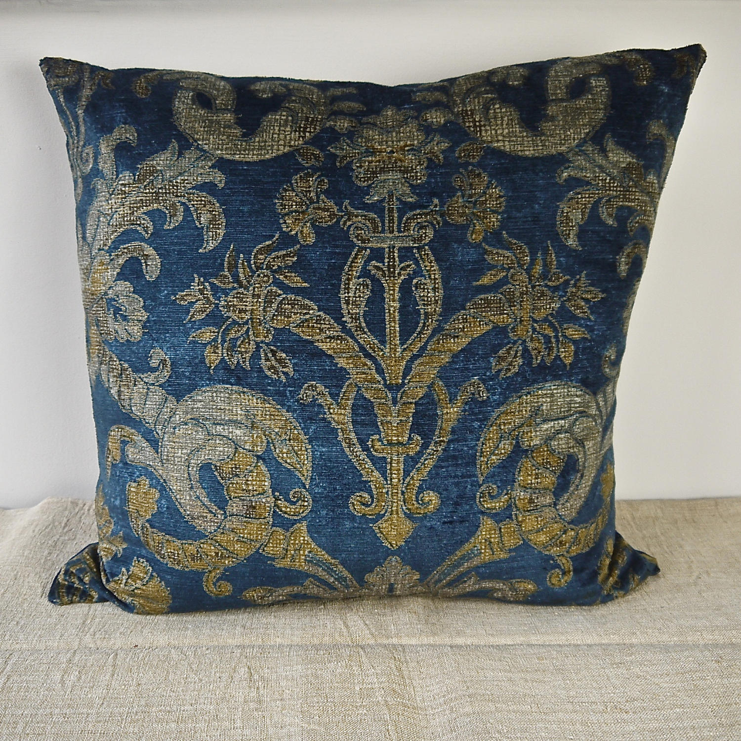 Circa 1950s French blue velvet large cushion