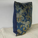 Circa 1950s French blue velvet large cushion - picture 4