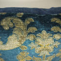 Circa 1950s French blue velvet large cushion - picture 5