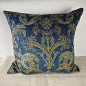 Circa 1950s French blue velvet large cushion - picture 1