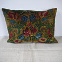 Circa 1950s French floral cotton velvet cushion - picture 1