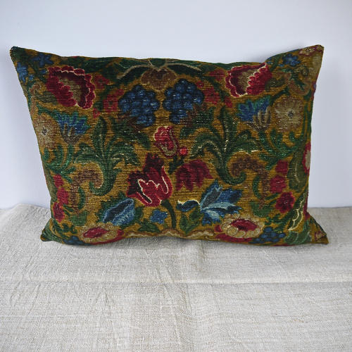 Circa 1950s French floral cotton velvet cushion