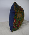 Circa 1950s French floral cotton velvet cushion - picture 3