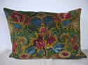 Circa 1950s French floral cotton velvet cushion - picture 4