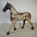 19th century French painted toy horse with iron head - picture 1
