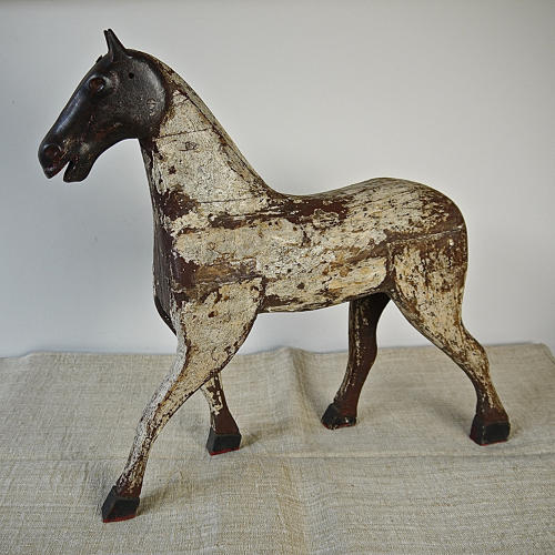 19th century French painted toy horse with iron head