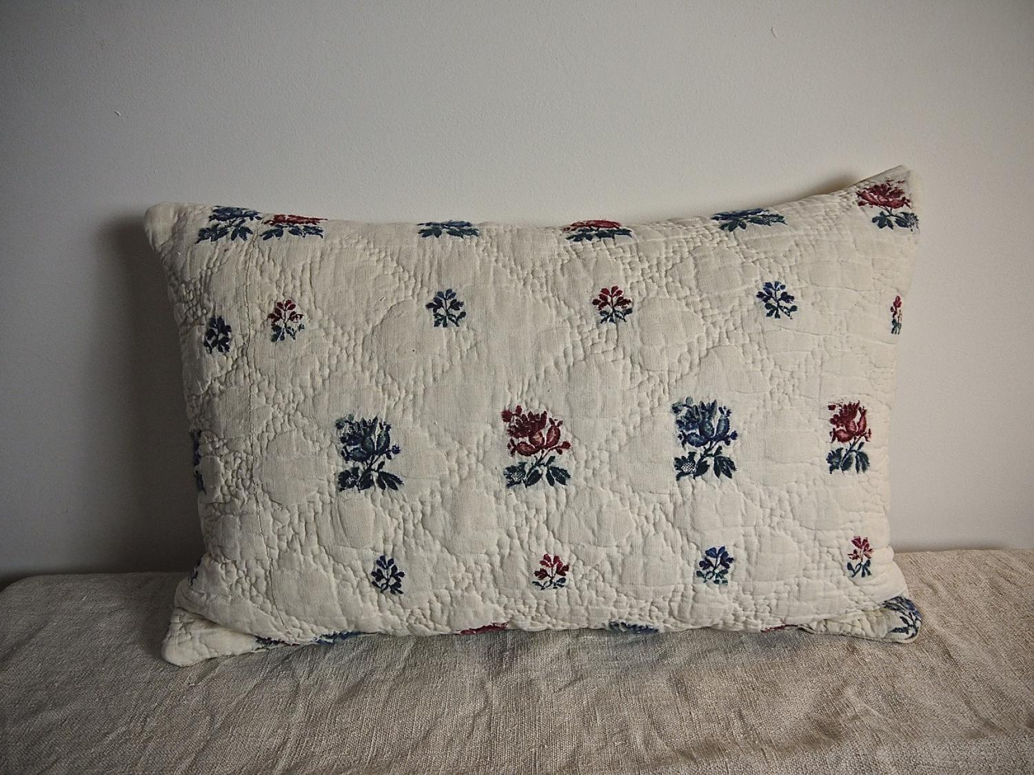 18th century French wool woven on  linen cushion