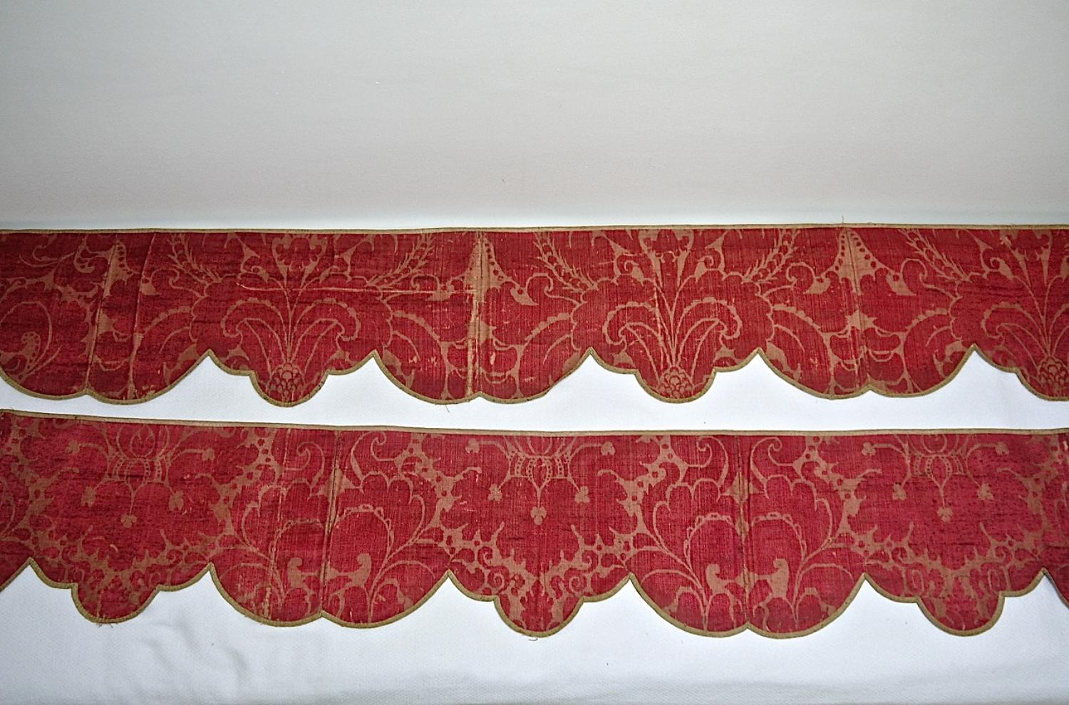 Pair of 18th century French silk damask pelmets