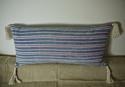 19th century French faded indigo striped cotton cushion - picture 1