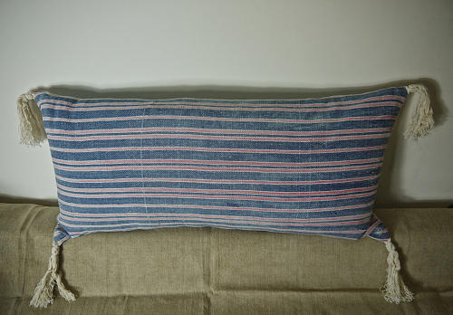 19th century French faded indigo striped cotton cushion