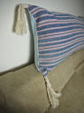 19th century French faded indigo striped cotton cushion - picture 3