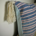 19th century French faded indigo striped cotton cushion - picture 4
