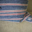 19th century French faded indigo striped cotton cushion - picture 5