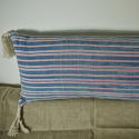 19th century French faded indigo striped cotton cushion - picture 6